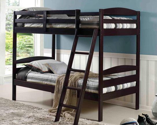 Espresso Color Budget Priced Twin Bunk Bed Set