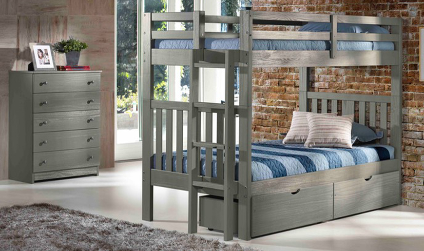 Warm Gray Finished Bunk Bed